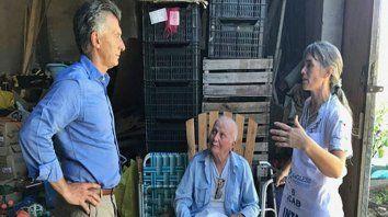Macri, don Carlos y Ana en la visita a La Criolla