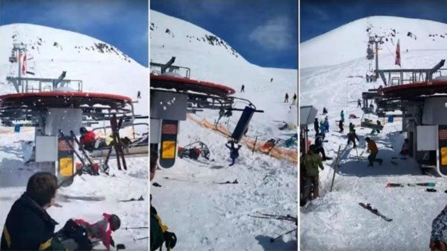 Aerosilla perdió el control y lanzó a esquiadores por el aire