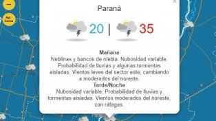 Pronosticaron tormentas intensas para Entre Ríos: Qué pasará con las temperaturas