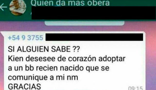 Una joven ofreció a su bebé a través de WhatsApp