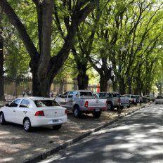 Los autos estacionados en las dársenas naturales.