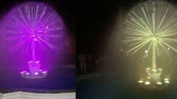 Los dos colores de la fuente. Fotos Municipalidda de Paraná.