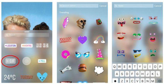 Instagram amplió las novedades en sus stories como la introducción de gifs. Esta novedad duró poco tiempo por un problema que tuvo la plataforma con Giphy (Instagram)