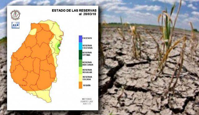 El color naranja refiere al nivel de sequía que existe en los suelos de todos los departamentos entrerrianos.
