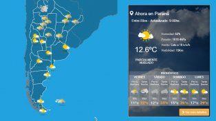Mañana fresca en Paraná: mirá el pronóstico de este finde