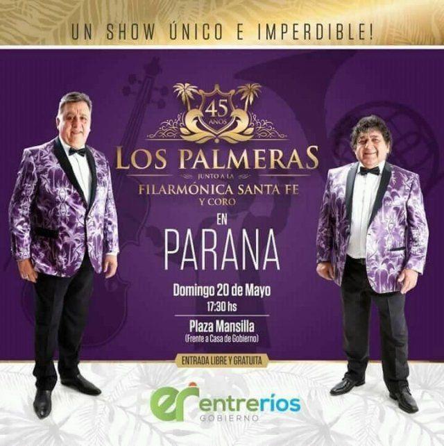 Los Palmeras y la Filarmónica harán bailar a los entrerrianos