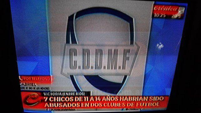Papelón. El canal Crónica TV informó erróneamente que habría chicos abusados en dos clubes de la localidad.