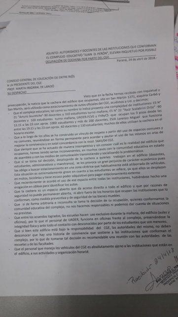 La carta que se remitió al CGE para hacer saber el malestar por la determinación.