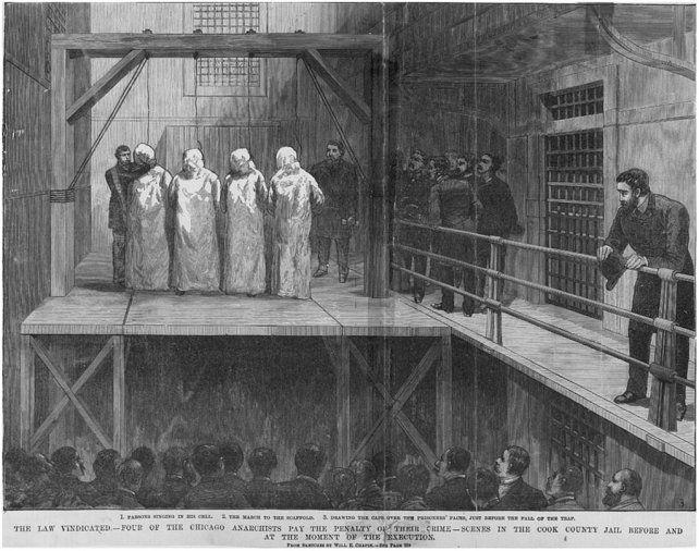 Grabado de la época para ilustrar la ejecución de los llamados Mártires de Chicago