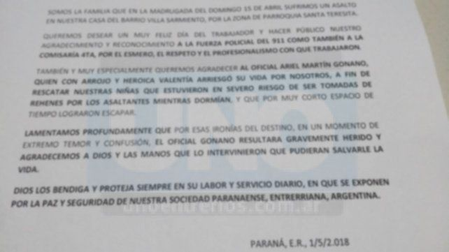 Familia paranaense, víctima de un violento asalto, saludó al policía que acudió en ayuda y fue baleado por error