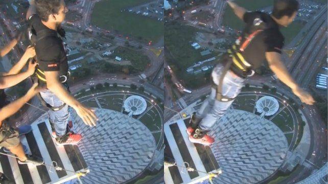 El impactante video de Ricardo Arjona saltando al vacío desde un edificio altísimo