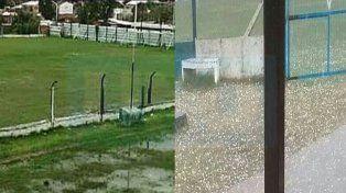 La cancha de Peñarol inundada tras las lluvias que azotan la ciudad y el campo de juego de Sportivo Urquiza, luego de las piedras caídas el día jueves.