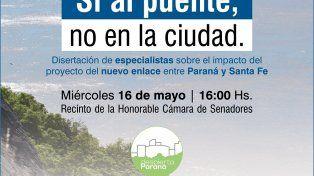 Especialistas expondrán en el senado sobre el Puente Paraná-Santa Fe
