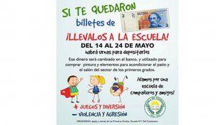Si te quedaron billetes de dos pesos llevalos a la escuela N° 1 del Centenario