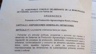 Quedó firme la Ordenanza que promueve la Agroecología en Paraná