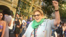 Miryam con su habitual vitalidad en una marcha feminista.