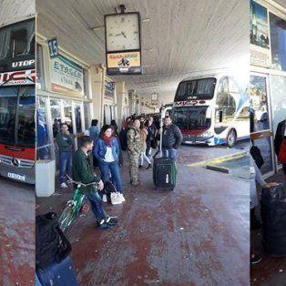 Tres fotos que muestran la realidad de la terminal santafecina.