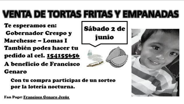Este sábado venden tortas fritas y churros para costear el tratamiento de Francisco Genaro