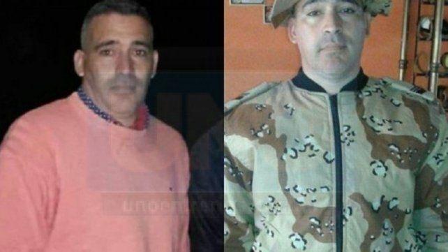 Dolor. Martín López de civil y con el uniforme de la División Abigeato.