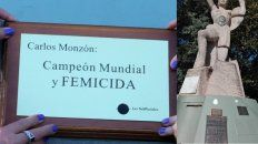 campeon mundial y femicida: parananenses intervinieron el monumento a monzon