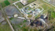 Vista aérea. Los vecinos pudieron captar los efectos de los derrames de los fluidos a los campos. Foto: Nogoyá Al Día.