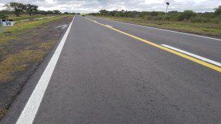 Postal de como ha quedado el trabajo realizado en la ruta 6 a la altura del km 39.