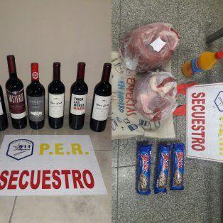 Los seis vinos, la carne, el jugo y las galletitas.