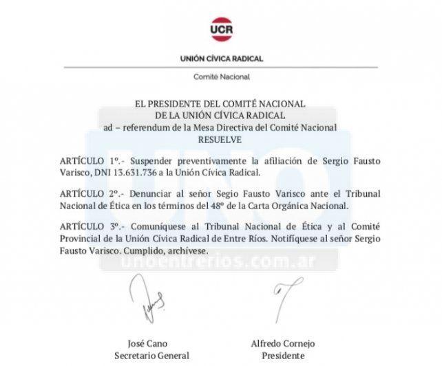 UCR suspendió las afiliaciones de Varisco y Hernández