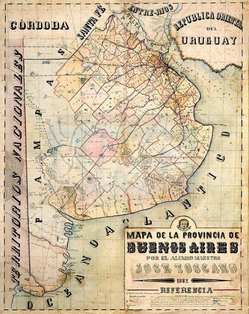 Historia. Mapa provincia de Buenos Aires 1882 donde se aprecia que parte del Delta Entrerriano era considerado bonaerense.