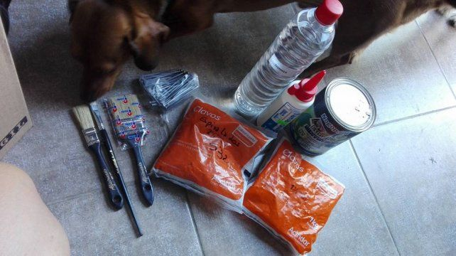 <b>Cuchas solidarias.</b> Materiales pasando por una inspección canina