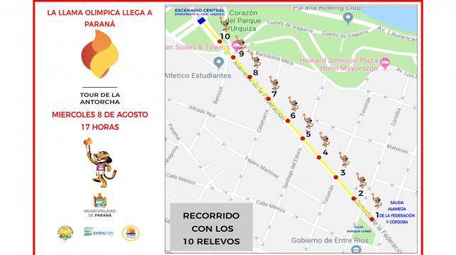 Así será el trayecto de la antorcha en la capital de la provincia de Entre Ríos