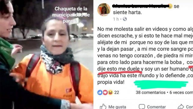 La cara de la intolerancia: La mujer que agredió a manifestantes justificó su accionar