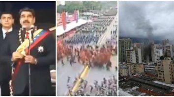 Triple pantalla: Nicolás Maduro, los soldados y el edificio de la explosión.