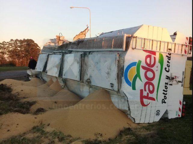 Un camión volcó su carga de alimento balanceado sobre rura 39