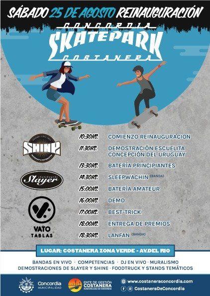 El reestreno del skatepark de Concordia marcará un hito en Entre Ríos