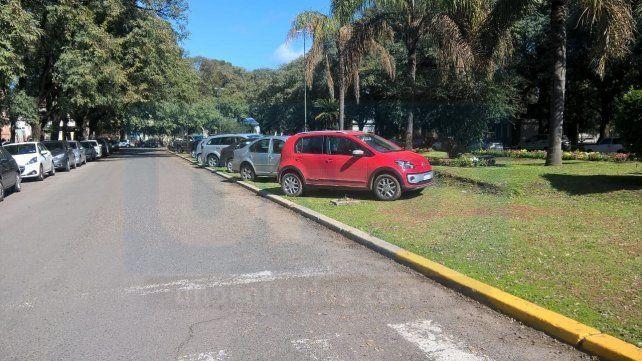Esta mañana. Numerosos autos parados sobre los canteros del Parque.