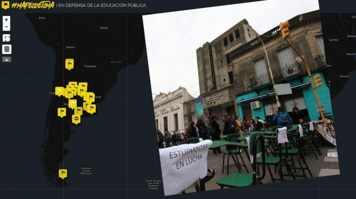 Desde Santa Fe y Paraná crearon un mapa que visibiliza la lucha por la educación en todo el país