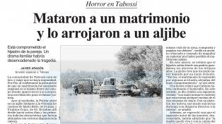Conmoción. En Tabossi no podían creer los detalles tenebrosos del doble crimen. Archivo UNO.