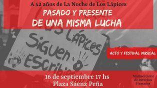 A 42 años de la Noche de los Lápices habrá un acto y festival musical en Paraná