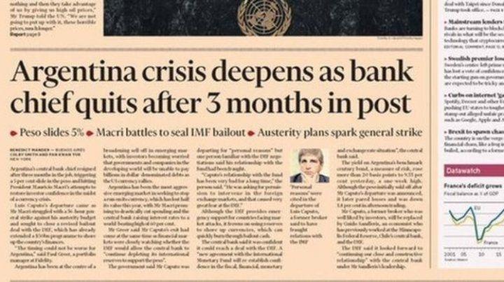La tapa del Financial Times: La crisis argentina se profundiza