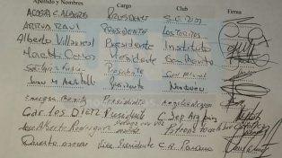 La nota que presentaron y la firma de los dirigentes de los clubes que piden una explicación.