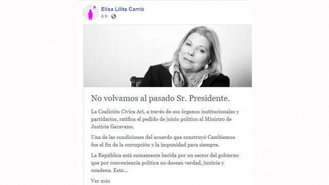 Carrió insiste con el pedido de juicio político a Garavano