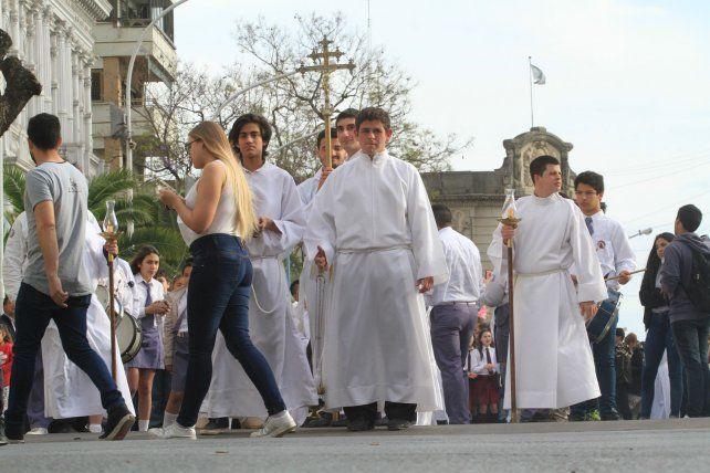 Una imagen de la procesión que se realizó el año pasado frente a la Catedral. Archivo07/10/2017.