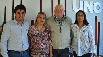 Proyectos. Juan José Zalazar, Karina Torrilla, Daniel Ruberto y María Eugenia Velásquez, en su visita a UNO.