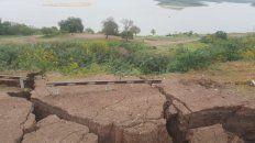 Desnivel. Las barrancas tiene una altura de 42 metros hacia su pie, en la zona de desmoronamientos.