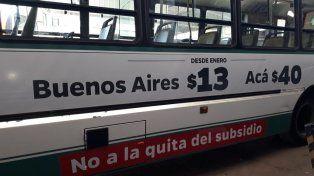 Los subsidios. Desde UTA se acompañó el ploteo con la discriminación que vive el interior. Foto: Radio La Voz.
