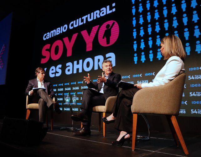 Exposición. El Presidente les habló a los empresarios en La Feliz.