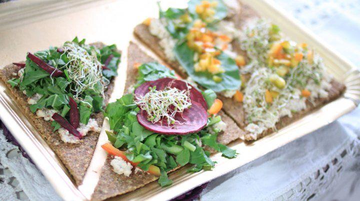Delicias veganas preparadas en el momento.