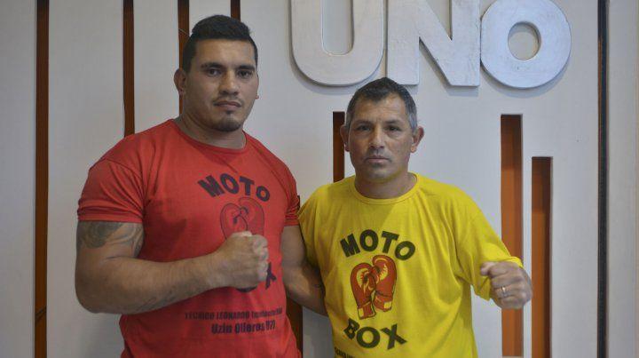 Con su entrenador. Pedro López es una de las promesas en los Pesados y junto a su entrenador Leonardo Dehan proyectan el futuro.