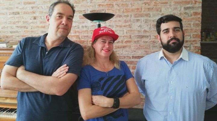 Marcelo, Daniela y Agustín luego de la grabación.
